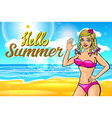 woman on the beach blonde in a pink bikini on a vector image vector image