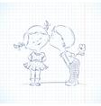 Hand drawn of kissing boy and girl vector image