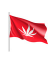 white cannabis leaf on red background vector image