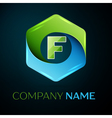 Letter F logo symbol in the colorful hexagonal on vector image
