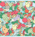 seamless pattern with fruits vegetables and vector image