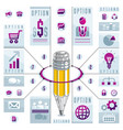 creative infographics concept pencil centered vector image