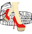 Walking in the shadow of the Colosseum Rome vector image