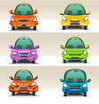 Colorful cartoon cars front view vector image vector image