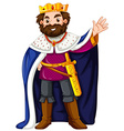King wearing blue robe vector image vector image