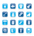 Grilling and barbecue icons vector image