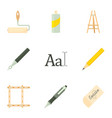 artist equipment icons set cartoon style vector image