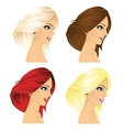 four women profile with different hair color vector image