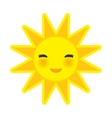 funny cartoon yellow sun smiling with closed eyes vector image