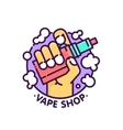Vape shop cloudy logo template in graphic vector image