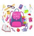 colorful of girl pink backpack with many sch vector image
