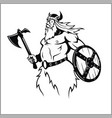 viking with an axe preparing for battle vector image