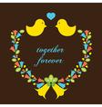 Love Birds With A Wreath vector image