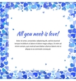 Cute template with many blue hearts square vector image