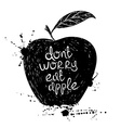 Black and white of isolated apple silhouette vector image