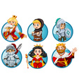 Different fairytales characters on round badge vector image