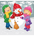 Of Kids Making Snowman vector image