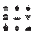 Cake Cupcakes icons vector image