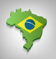 Dimensional Brazilian Map With Flag vector image