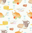 Pattern with food dish glass baked chicken bre vector image