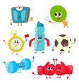 set of funny sports equipment characters cartoon vector image