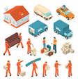 Moving Company Service Isometric Icons Set vector image