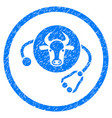 cow veterinary rounded grainy icon vector image