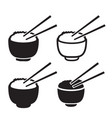 set of bowl of rice with pair of chopsticks icon vector image