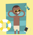 young black character lying on the beach top view vector image