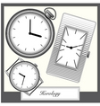 engraving style picture watches collection vector vector image vector image