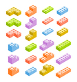 Different color constructor blocks isolated on vector image