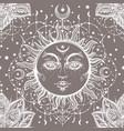 beautiful floral paisley sun face pattern vector image