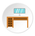 computer desk icon circle vector image
