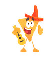funny cartoon mexican nachos chip character vector image