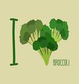 I love Broccoli Heart of green broccoli vector image