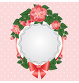 lace and rose on pink polka dot background vector image