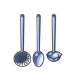 steel skimmer ladle set sketch isolated vector image