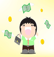 very happy man under a rain of cash vector image