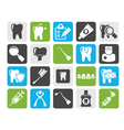 Silhouette dental medicine and tools icons vector image