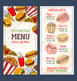 fast food restaurant menu template vector image