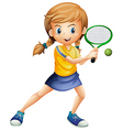A pretty lady playing tennis vector image