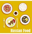 Tasty dinner of russian cuisine flat icon vector image