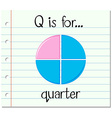 Flashcard letter Q is for quarter vector image
