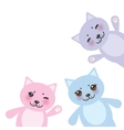 card design set funny cats pastel colors on white vector image
