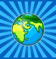earth globe comic book style vector image