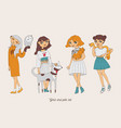 hand drawn girls characters with cute pets as dog vector image