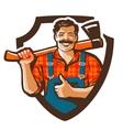 lumberjack logo woodcutter or forester vector image