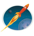 spaceship flying through space banner vector image