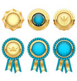 turquoise award rosettes and gold heraldic medals vector image