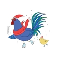Rooster and chicken on skates vector image